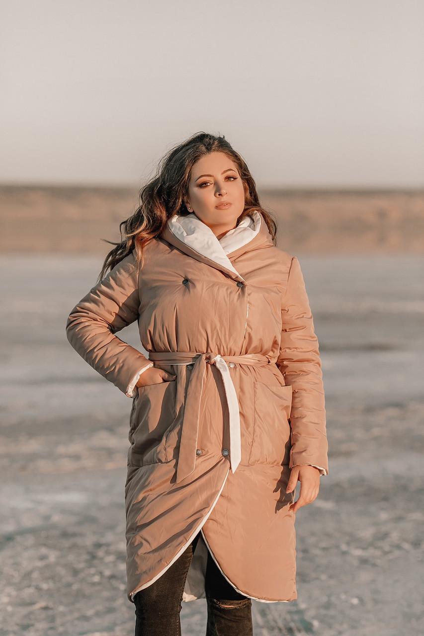 Женская осенне-зимняя куртка из плащевки на синтепоне с глубоким шалевым капюшоном, батал большие размеры