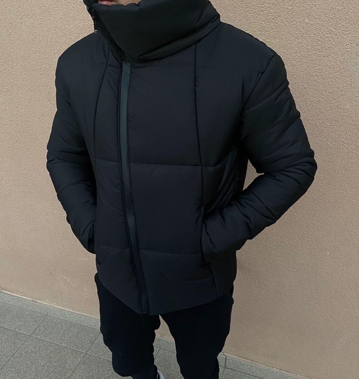 😜 Куртка - Мужскаяя чорна куртка з хомутом
