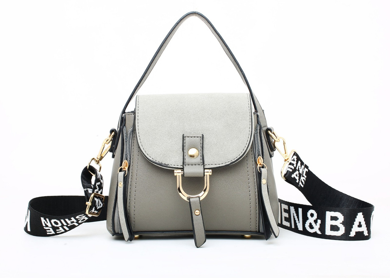 Модная сумка женская на широком ремне через плечо кроссбоди, цвет серый