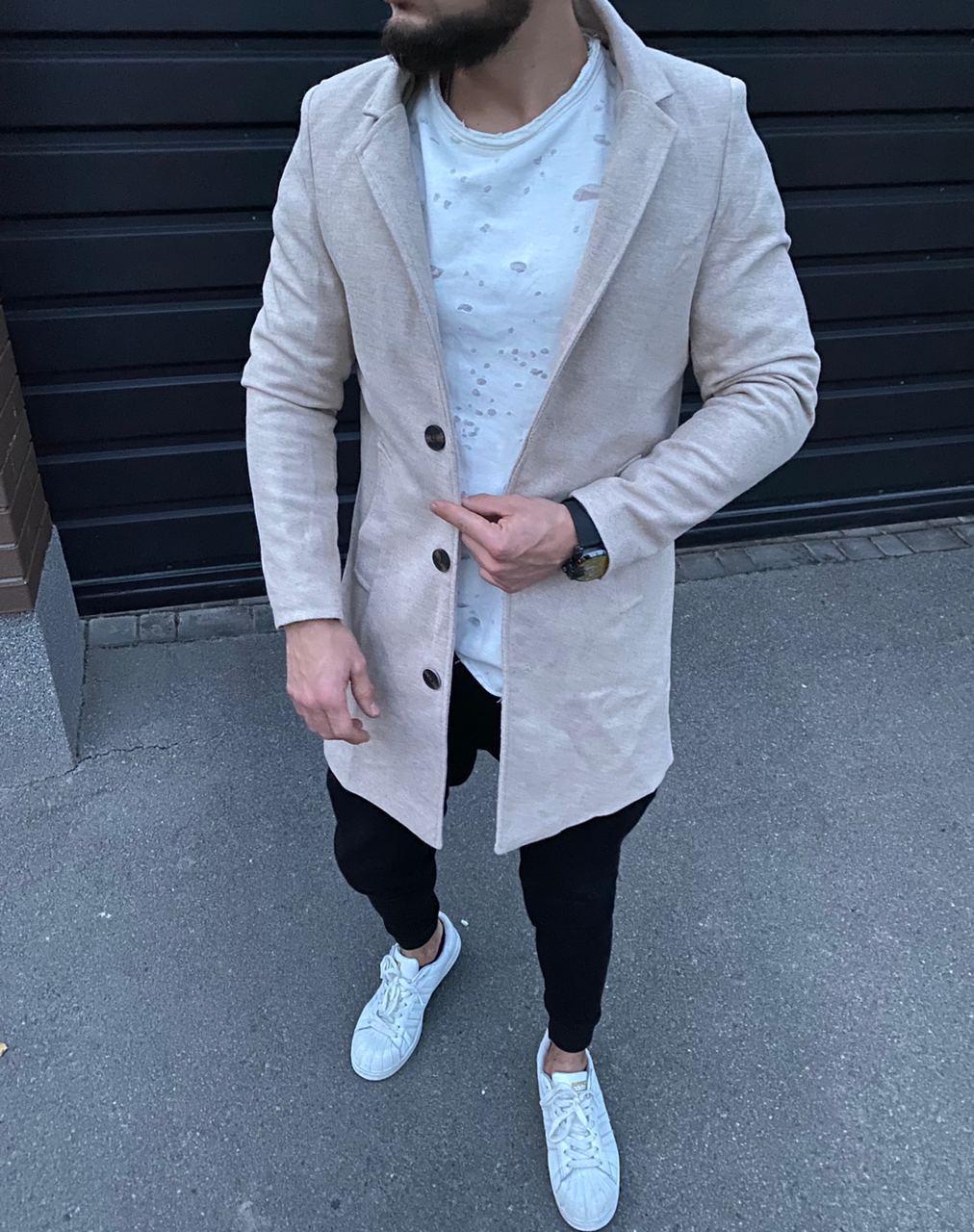 😜 Пальто - Мужское бежевое пальто на осень
