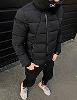 Куртка - Мужская черная куртка с хомутом на зиму