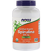 ОРИГІНАЛ!Американська органічна спіруліна Now Foods таблетки для схуднення,500 мг, 500 пігулок