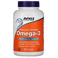 ОРИГІНАЛ!Омега-3 Omega-3 Риб'ячий жир Now Foods 180 EPA/120 DHA для серцево-судинної системи 200 капсул з США