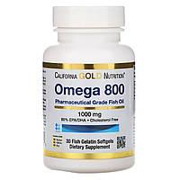 ОРИГІНАЛ!California Gold Nutrition Омега 800 риб'ячий жир,Omega 800,1000 мг, 30 капсул виробництва США