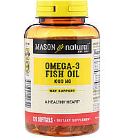 ОРИГІНАЛ!Омега-3 Omega-3 Mason Natural Риб'ячий жир 1000 мг, 120 м'яких капсул виробництва США
