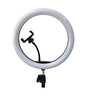 Кольцевая светодиодная LED лампа RIAS SMN-12 30см с зеркалом и держателем USB управление на проводе
