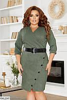 Вельветовое женское платье до колена батал, размеры 50, 52, 54, 56, 58, 60