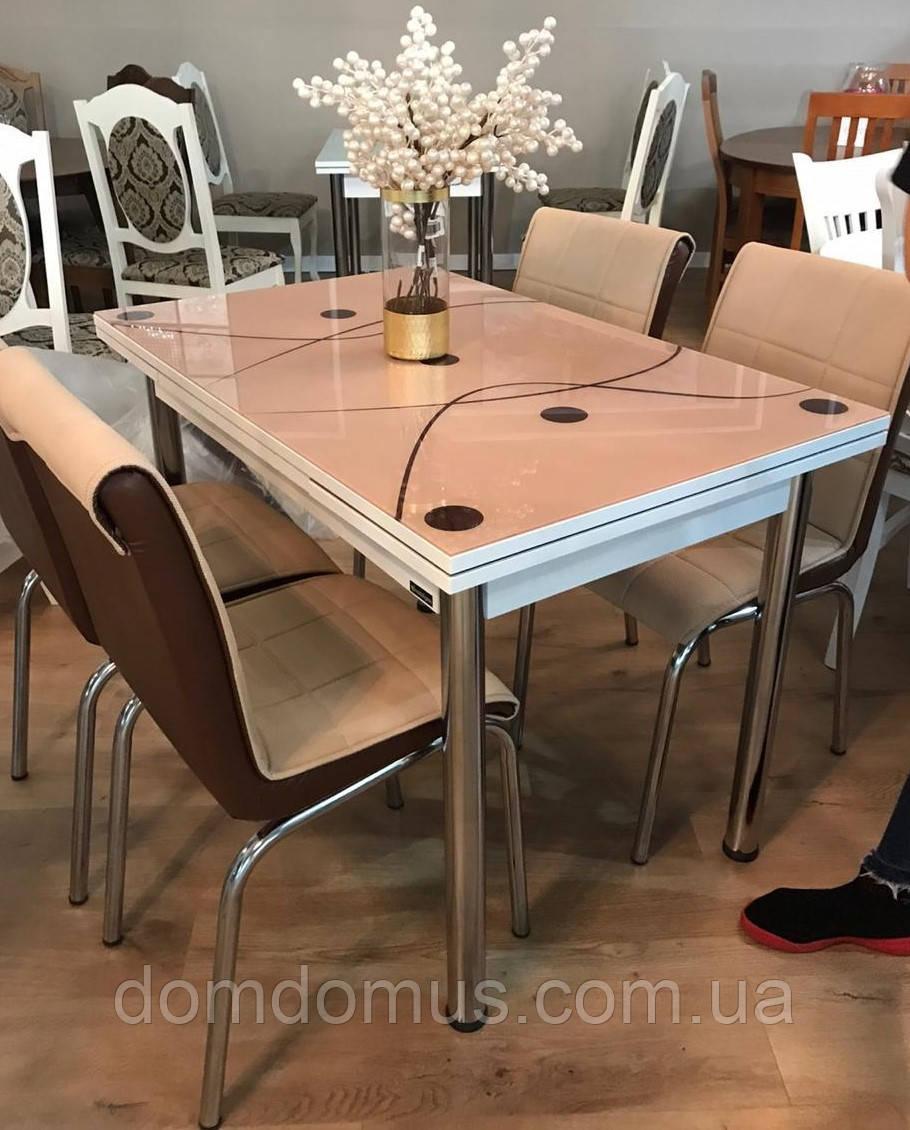 """Комплект обідній меблів """"Cappucino""""110*70 см (стіл ДСП, гартоване скло + 4 стільця) Mobilgen, Туреччина"""