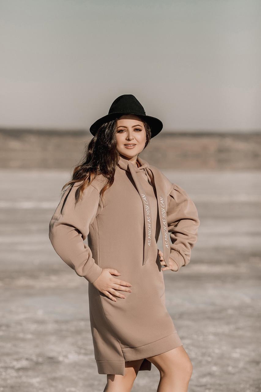 Теплое зимнее спортивное платье-туника с начесом, с капюшоном