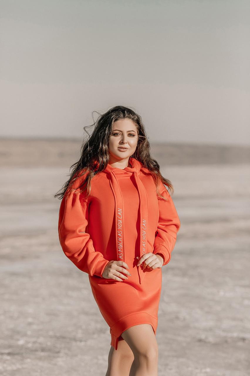 Тепле зимове спортивне плаття-туніка з начосом, з капюшоном