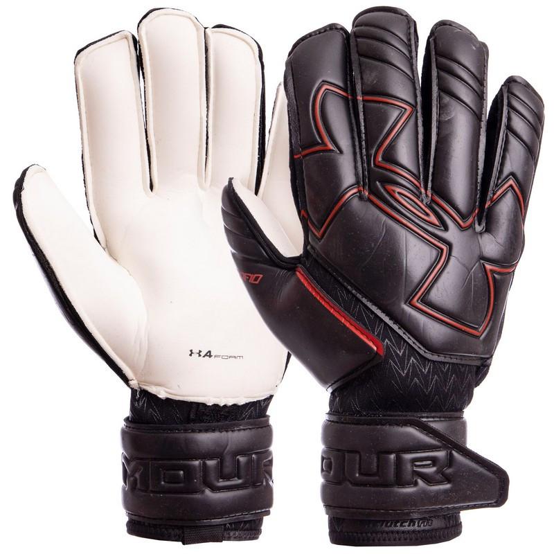 Перчатки вратарские с защитными вставками на пальцы UNDER ARMOUR черные FB-883