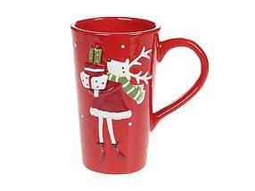 Чашка 500мл Олениха с подарками, красный ТМBONADI