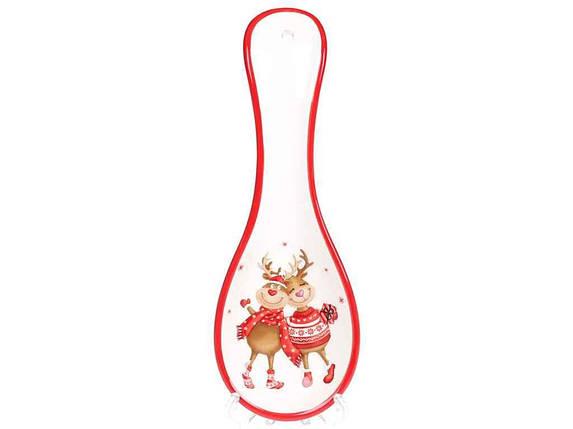 Подставка под ложку керамическая BonaDi Новогодние олени 24 см, фото 2