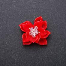 Фурнитура нашивка Цветок Лотоса красный акрил d-40мм
