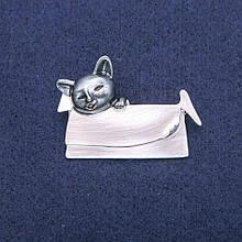 Брошь Кулон Котик в сумочке с перламутровой и серой эмалью, серебристый металл 33х45мм