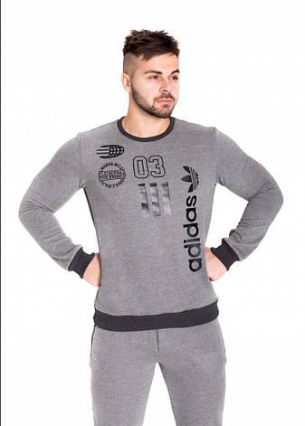 Толстовка с начесом серая Adidas, фото 2