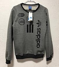 Толстовка с начесом серая Adidas, фото 3