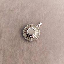 """Кулон из натурального камня Оникс бирюзовое свечение в оправе """"Солнце"""" d-27мм"""