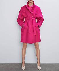 Пальто женское с поясом неоновое Rose Berni Fashion (S)