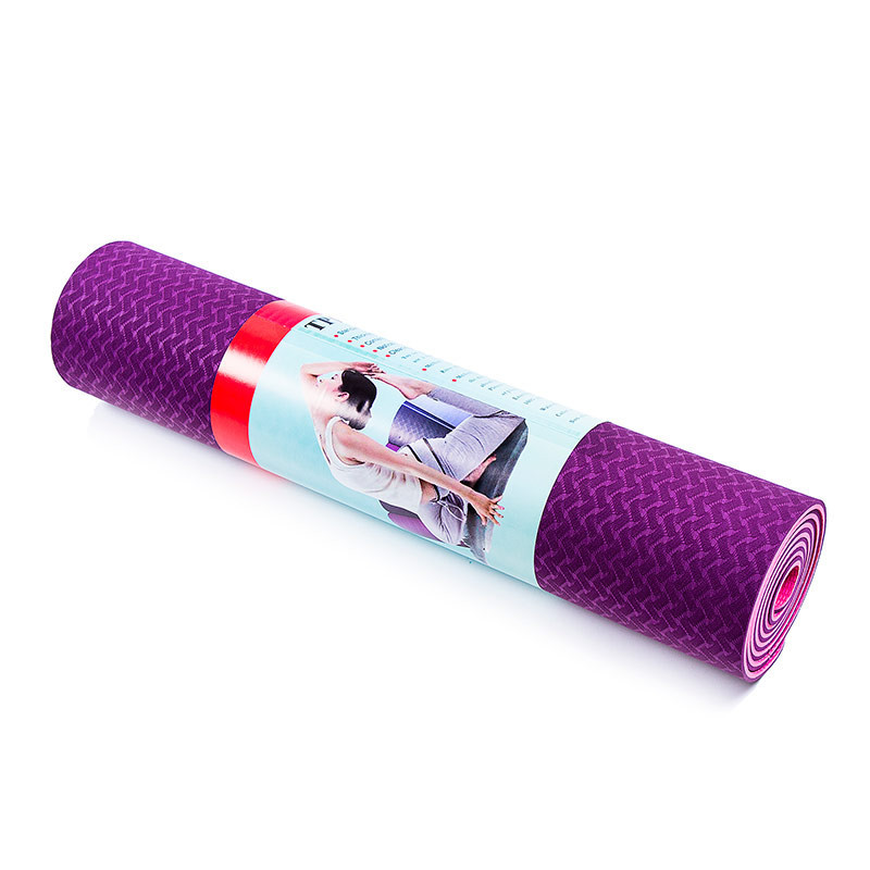 Коврик для йоги и фитнеса 2слоя, TPE, 6мм, фиолетово-розовый