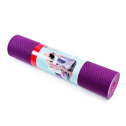 Коврик для йоги и фитнеса 2слоя, TPE, 6мм, фиолетово-розовый, фото 2