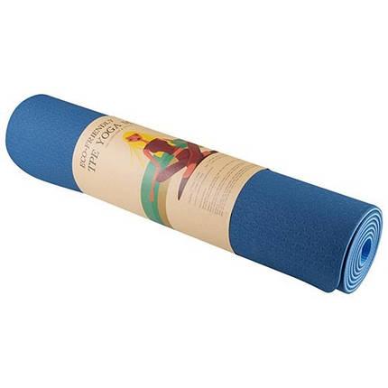 Коврик для йоги и фитнеса 2слоя, TPE, 6мм, синий/голубой, фото 2