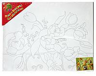 """Холст с контуром """"Тюльпаны"""" (30см*40см) 950988 без красок"""