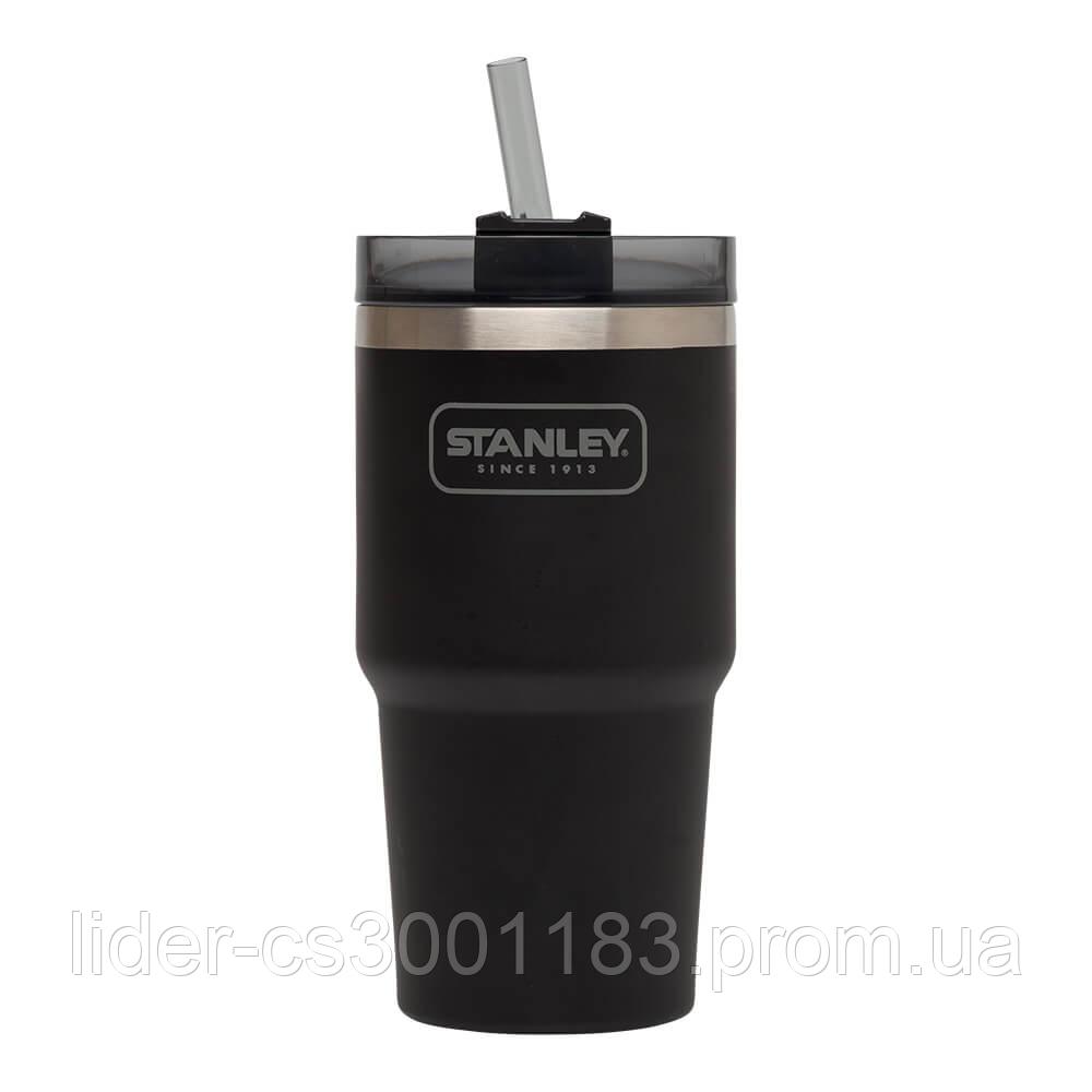 Термочашка з соломинкою Stanley Adventure Quencher  0.6 л Чорна