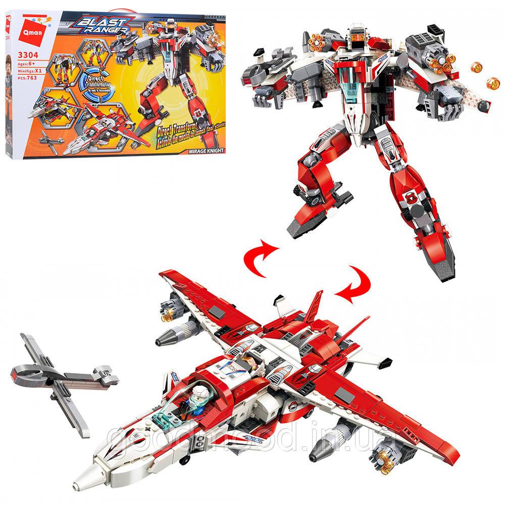 Конструктор Qman 3304 трансформер (робот+літак), 763 дет., кор., 52,5-34,5-6,5 см.