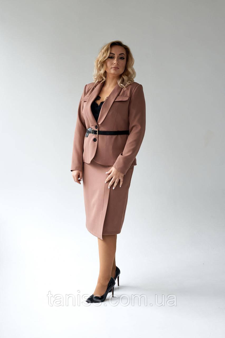 """Жіночий класичний жакет """"Роберта"""", тканина костюмна , розміри 48,50,52,54, кавовий, жакет"""