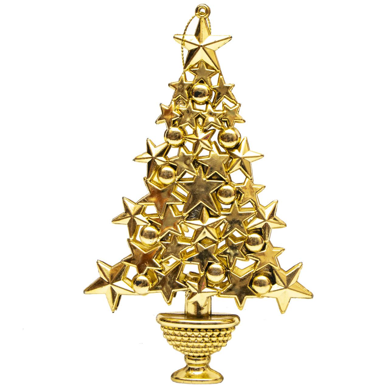 Елочная игрушка - Елочка золотая, 16 см, золотистый, пластик (000500)
