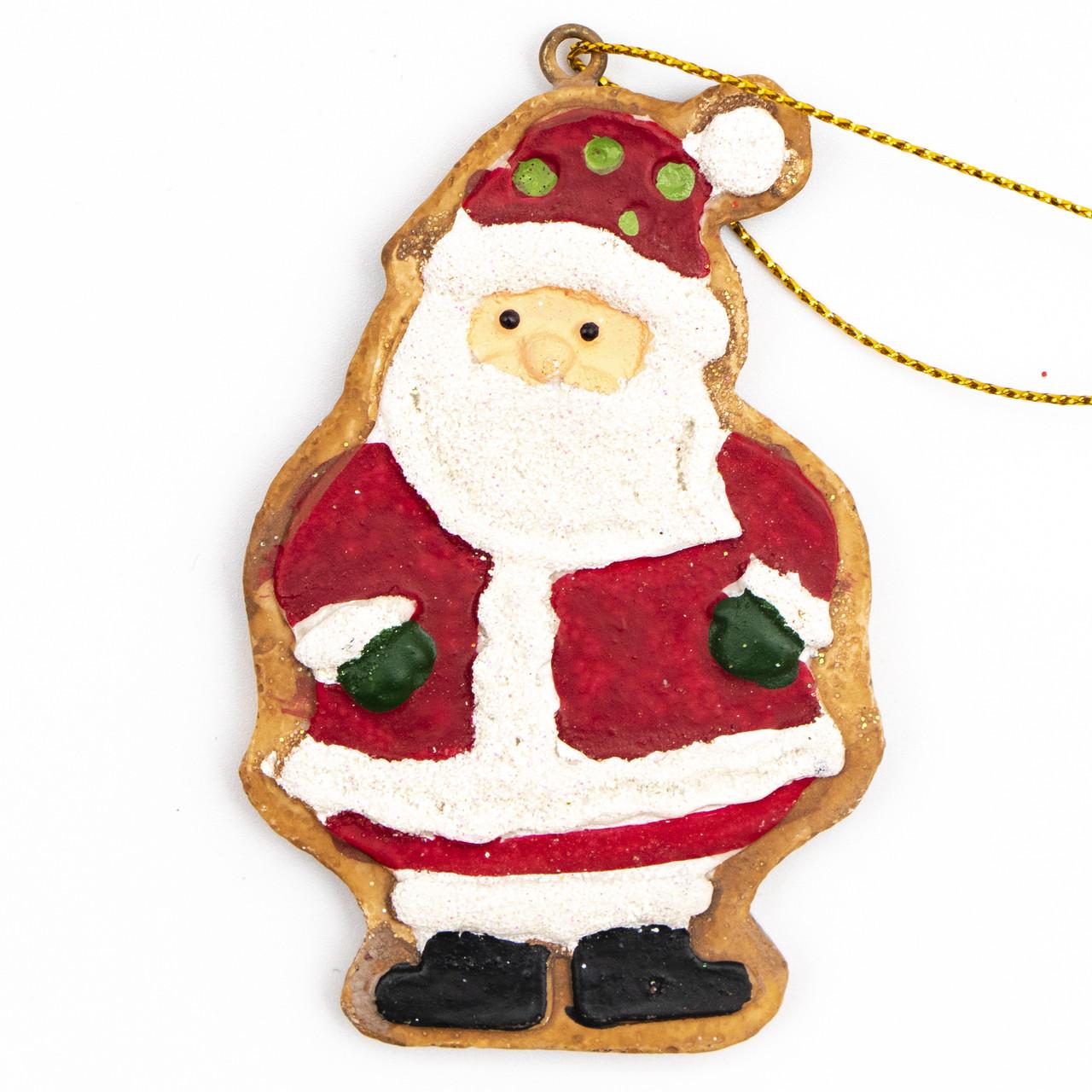 Новогодняя елочная игрушка - фигурка  Дед Мороз, h-7,6 см, красный, полистоун (000630-3)