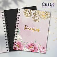"""Блокнот для рисования, скетчбук розовый цветочный с золотым декором с черной бумагой """"PEONIES"""""""
