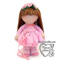 Лялька ручної роботи в рожевій сукні, середня 27 см