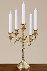 Канделябр на 5 свечей Виктория h 40 см золотой