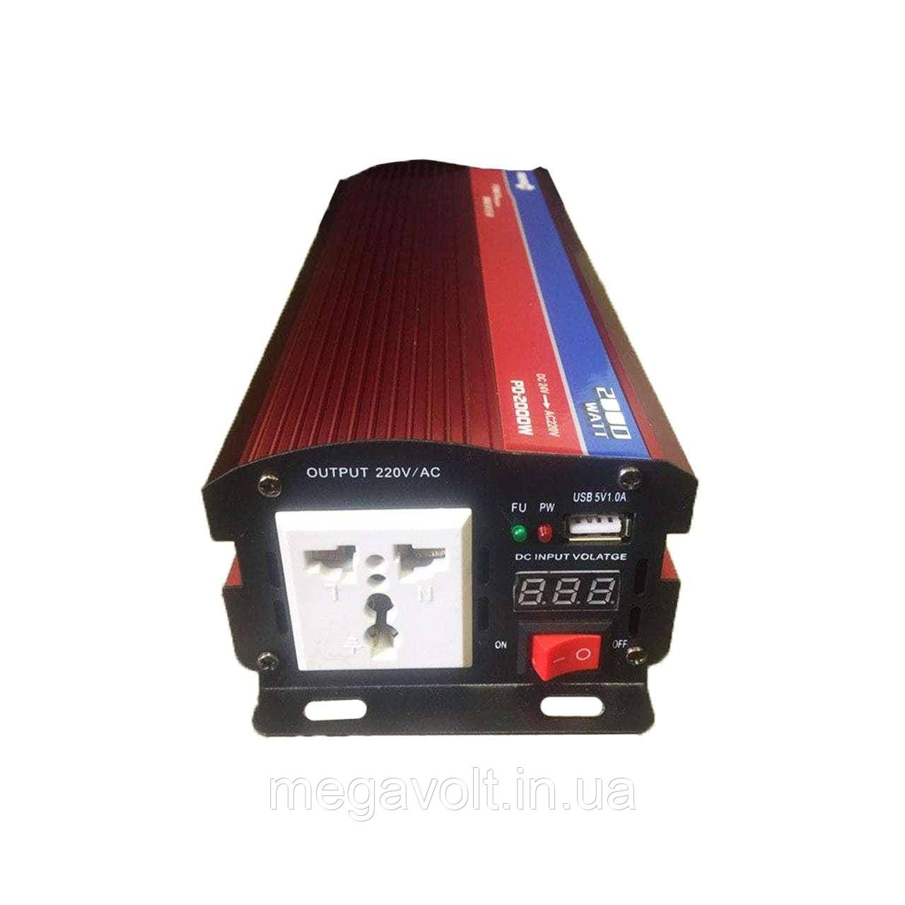 Преобразователь. Инвертор 12v-220v 2000W LED экран POWERONE