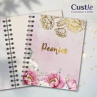"""Блокнот для рисования, скетчбук розовый цветочный, декорированный золотом с белой бумагой """"PEONIES"""""""