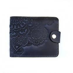 Кожаное портмоне Цветок синий 9*11 см