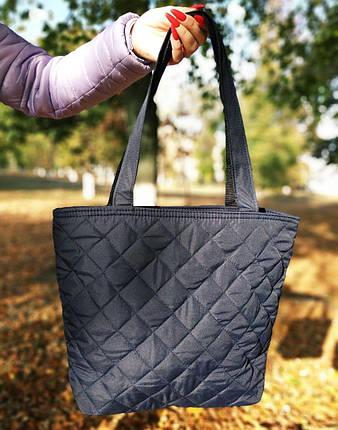 Дутая/стеганая зимняя женская сумка темно-синяя 1274844517, фото 2