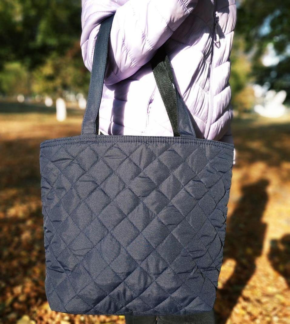 Дутая/стеганая зимняя женская сумка темно-синяя 1274844517