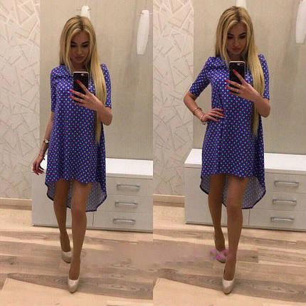 Платье свободное удлиненное сзади в горошек из хлопка, фото 2