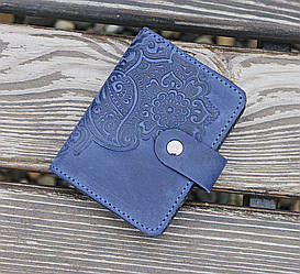 Картхолдер - Визитница Цветок синий 8*10.5см