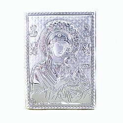 Икона с серебром Святая Мария на деревянной основе 5,5*8 см