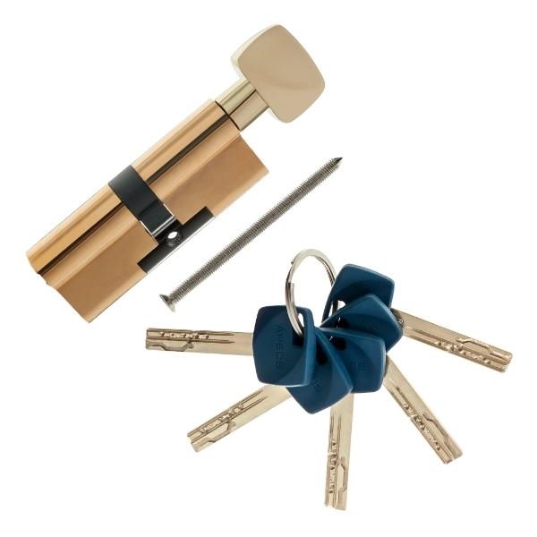 Цилиндровый механизм Apecs Premier XR-70(35х35)-C15-G золото ключ/поворотник