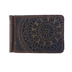 Кожаный зажим для денег ЭТНО коричневый 8*11 см