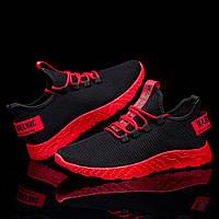 Удобные мужские кроссовки с красной подошвой