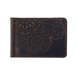 Кожаный зажим для денег Цветок коричневый 8*11 см