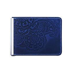 Кожаный зажим для денег Цветок синий 8*11см