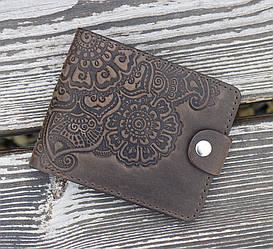 Кожаное портмоне Цветок коричневый 9*11 см