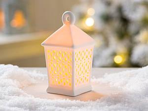 Led фонарь подвесной ночник бежевая керамика h 12 см
